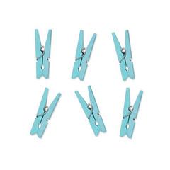 Partydeco Houten Knijpertjes Lichtblauw - 10 stuks - 3,5 cm