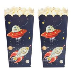 Ginger Ray Space Adventure Popcorn Bakjes - 8 stuks - donkerblauw