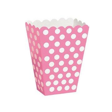 Unique Popcorn bakjes Roze met Witte Stippen - 8 stuks