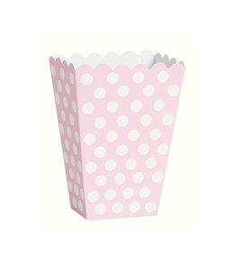 Unique Popcorn bakjes Lichtroze en Witte Stippen - 8 stuks