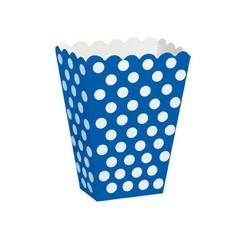 Unique Popcorn bakjes Blauw met Witte Stippen - 8 stuks