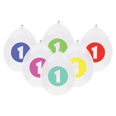 Haza 1 Jaar Ballonnen - 6 stuks - 6 kleuren