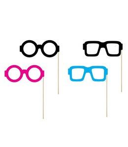 Partydeco Photo Props Brillen - 4 stuks - zwart, blauw en roze