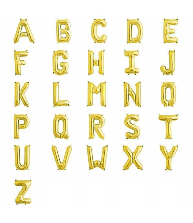 Amscan Mini Letter Folieballon A t/m Z Goud (per stuk) - 33 tot 35 cm