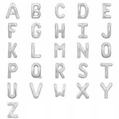 Amscan Mini Letter Folieballon A t/m Z Zilver (per stuk) - 33 cm