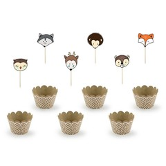 Partydeco Woodland Cupcake Set - 6 Cupcake Wrappers en Toppers