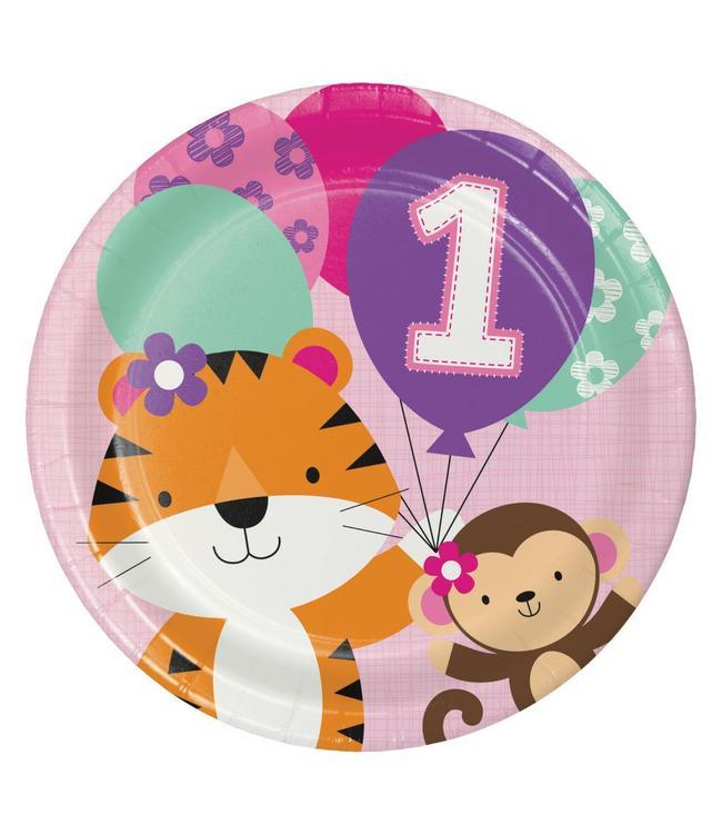 Creative Party 1 Jaar Safari Fun Meisje Borden - 8 stuks - 23 cm