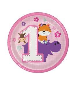 Creative Party 1 Jaar Safari Fun Meisje Bordjes - 8 stuks - 18 cm