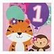 Creative Party 1 Jaar Safari Fun Meisje Servetten - 16 stuks