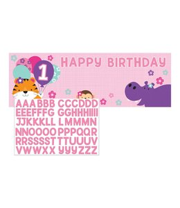 Creative Party 1 Jaar Safari Fun Meisje Banner Met Stickers - 50 x 152 cm