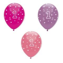 Creative Party 1 Jaar Ballonnen Meisje - 6 stuks - 30 cm