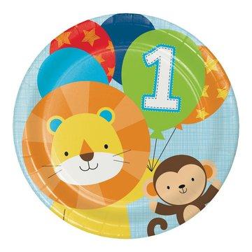 Creative Party 1 Jaar Safari Fun Jongen Borden - 8 stuks - 23 cm