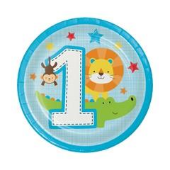 Creative Party 1 Jaar Safari Fun Jongen Bordjes - 8 stuks - 18 cm