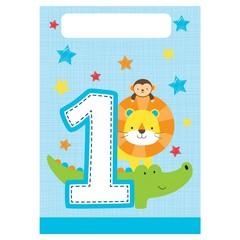 Creative Party 1 Jaar Safari Fun Jongen Uitdeelzakjes - 8 stuks - 23 x 16 cm