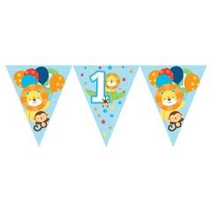 Creative Party 1 Jaar Safari Fun Jongen Vlaggenlijn - 2,5 meter