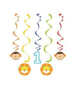 Creative Party 1 Jaar Safari Fun Jongen Hangdecoraties - 5 stuks