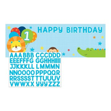 Creative Party 1 Jaar Safari Fun Jongen Banner Met Stickers - 50 x 152 cm