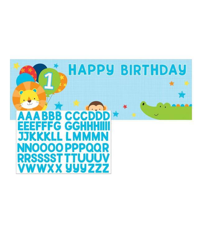 Creative Party 1 Jaar Safari Fun Jongen Banner Met Stickers - 50 x 152 cm