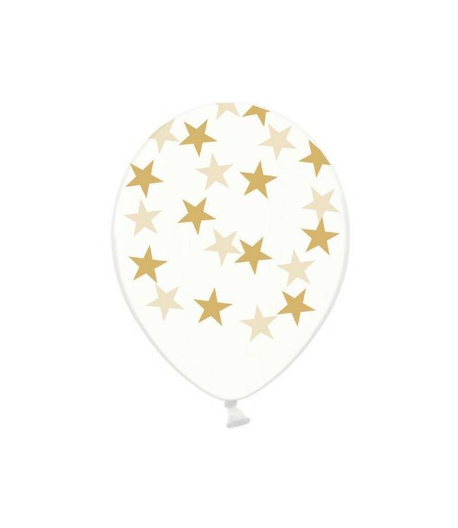 Partydeco Ballonnen met gouden sterretjes, crystal clear - 6 stuks