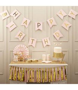 Ginger Ray Happy Birthday Slinger Roze & Goud - 2,5 meter