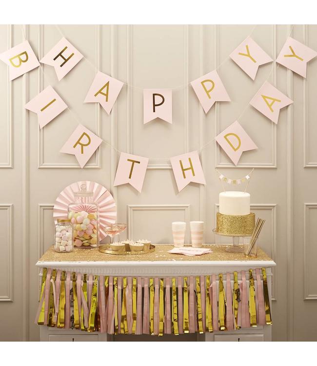 Ginger Ray Happy Birthday Slinger Roze & Goud - 2,5 meter - Ginger Ray