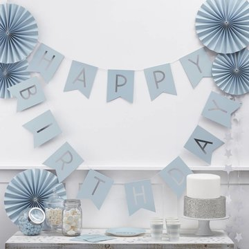 Ginger Ray Happy Birthday Slinger Blauw & Zilver - 2,5 meter