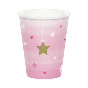 Creative Party One Little Star Girl Bekers - 8 stuks
