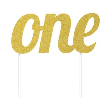 Creative Party Cake Topper 'One' Goud