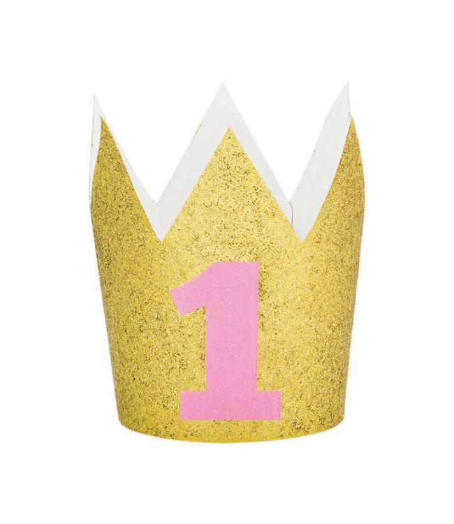 Creative Party Kroontje '1' Goud - 1 jaar
