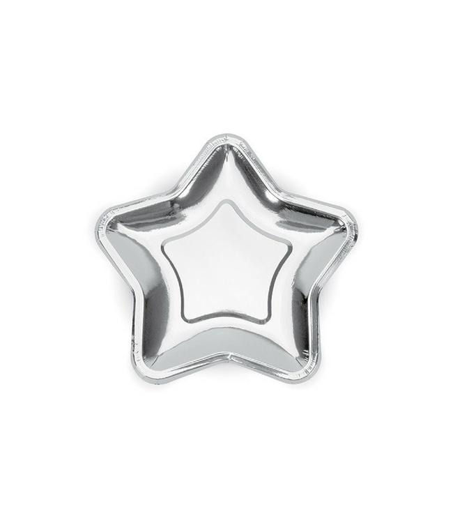 Partydeco Zilveren Bordjes Ster - 18 cm - 6 stuks