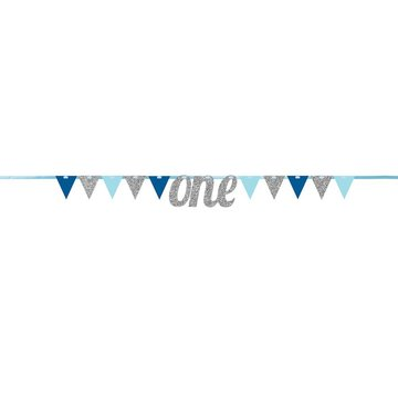 Creative Party Slinger 1 Jaar Blauw en Zilver - 2,7 meter