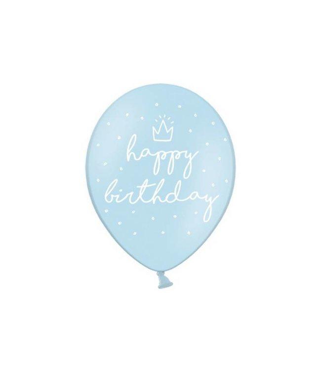 Partydeco Blauwe Ballonnen Kroontje - 6 stuks - 30 cm