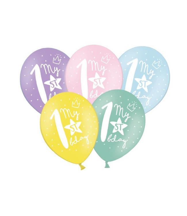 Partydeco 1 Jaar Ballonnen Pastel - 6 stuks - 30 cm