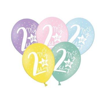 Partydeco 2 Jaar Ballonnen Pastel - 6 stuks - 30 cm