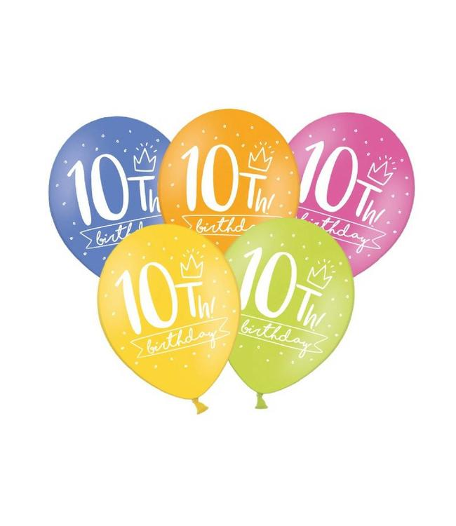 Partydeco 10 Jaar Ballonnen Assorti - 6 stuks - 30 cm