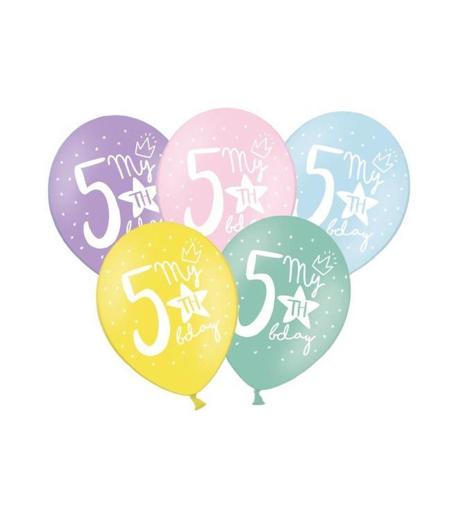 Partydeco 5 Jaar Ballonnen Pastel - 6 stuks - 30 cm