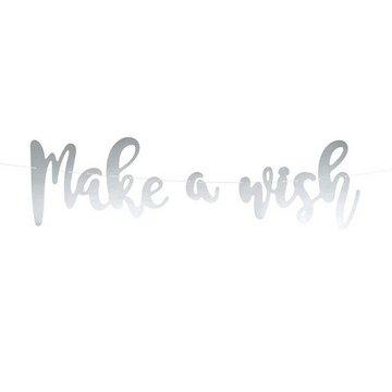 Partydeco Slinger 'Make a Wish' zilver - 60 cm