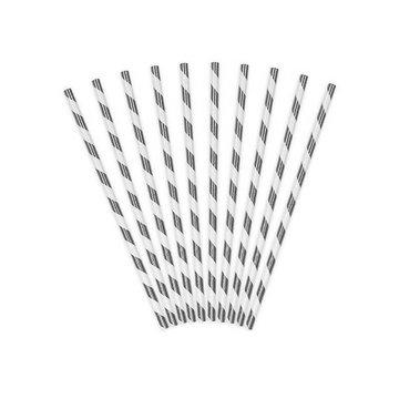 Partydeco Rietjes Streepjes Metallic Zilver en Wit - 10 stuks - 20 cm
