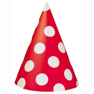 Unique Polka Dots Hoedjes Rood met Witte stippen - 8 stuks