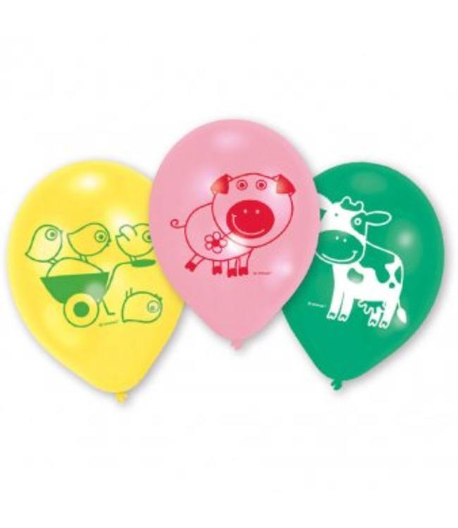 Amscan Boerderij Fun Ballonnen - 6 stuks - 3 kleuren