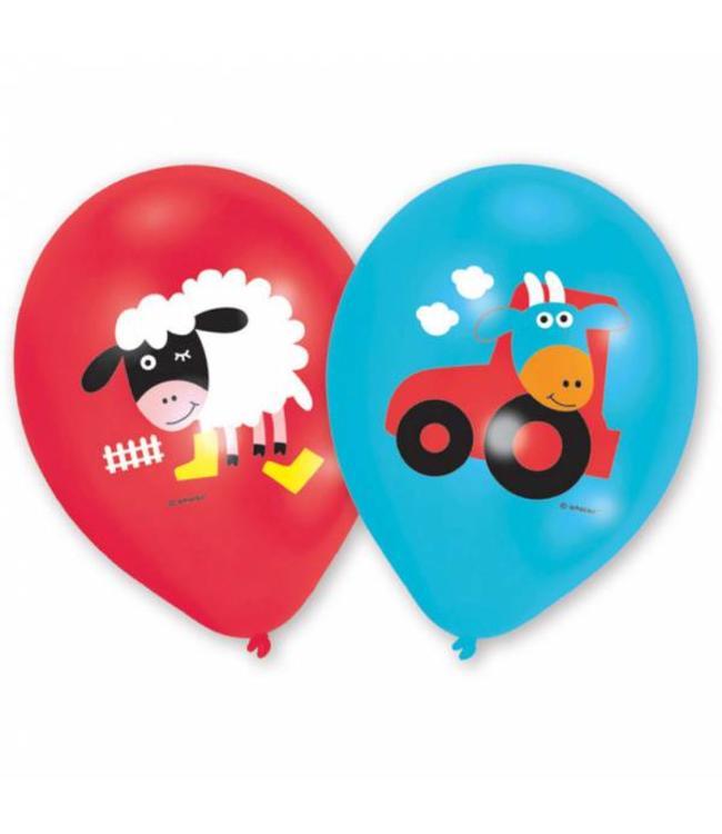 Amscan Boerderij Fun Ballonnen - 6 stuks - 2 kleuren