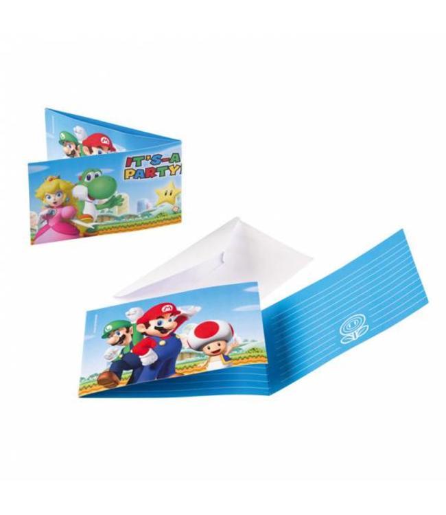 Amscan Super Mario Uitnodigingen - 8 stuks