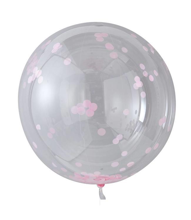Ginger Ray Jumbo Ballonnen met Roze Confetti (Transparant) - 3 stuks