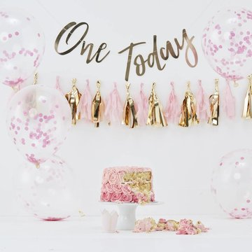 Ginger Ray 1 Jaar Cakesmash Kit Roze - set van 8 items