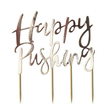 Ginger Ray Oh Baby! Cake Topper 'Happy Pushing' - per stuk