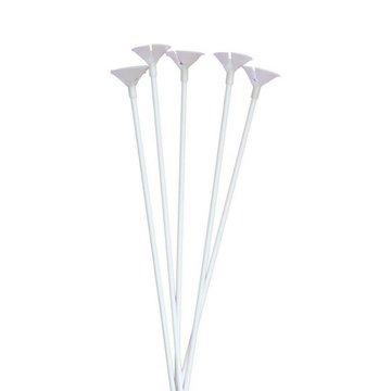 Folat Ballonstokjes + Cups - 10 stuks - wit
