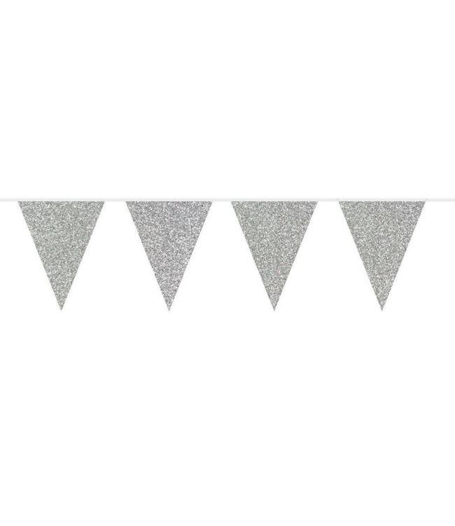 Folat Vlaggenlijn Zilver Glitter - 6 meter - plastic
