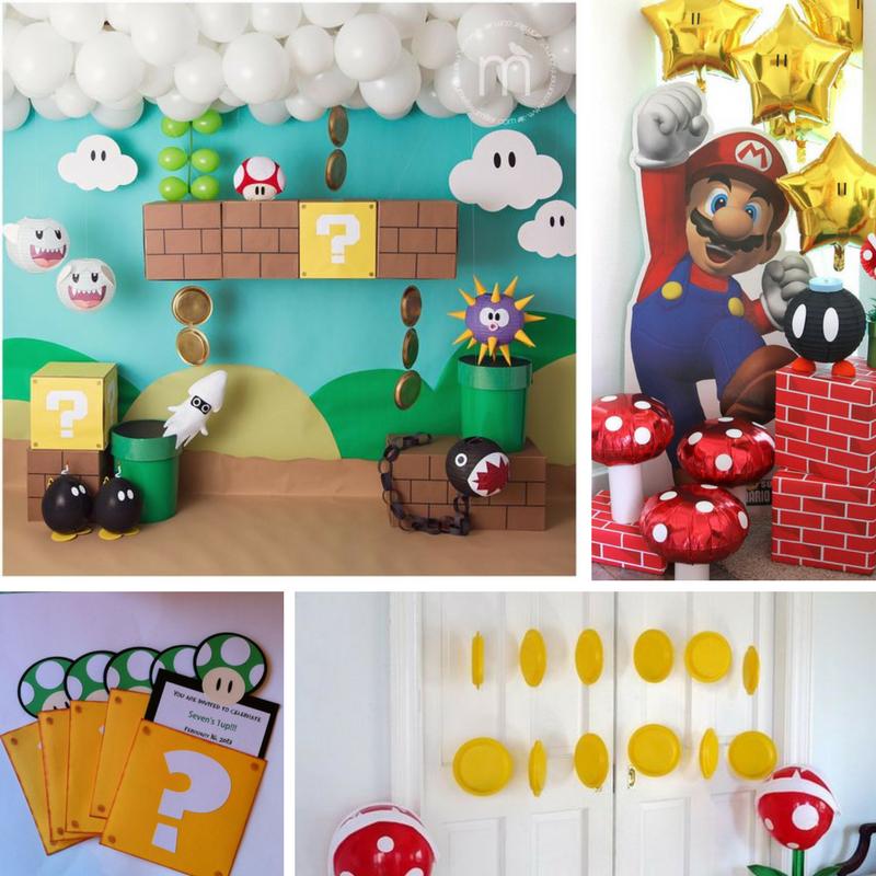 Super Mario feestje - uitnodigingen en versiering