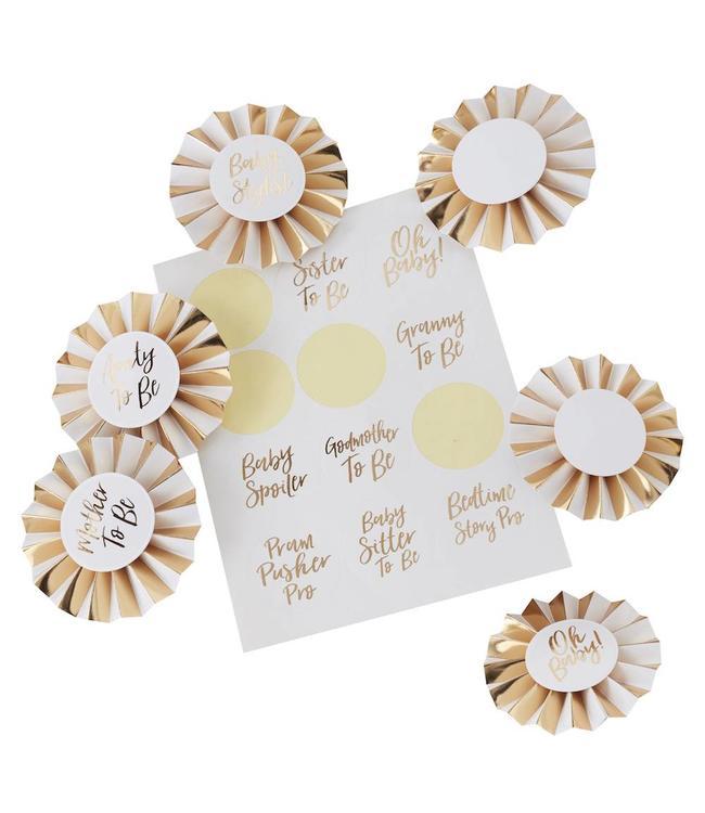 Ginger Ray Oh Baby! Badges - set van 6 badges en 12 stickers - babyshower