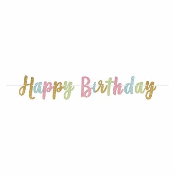 Amscan Slinger 'Happy Birthday' Glitter Pastel & Goud - per stuk - 3,65 meter
